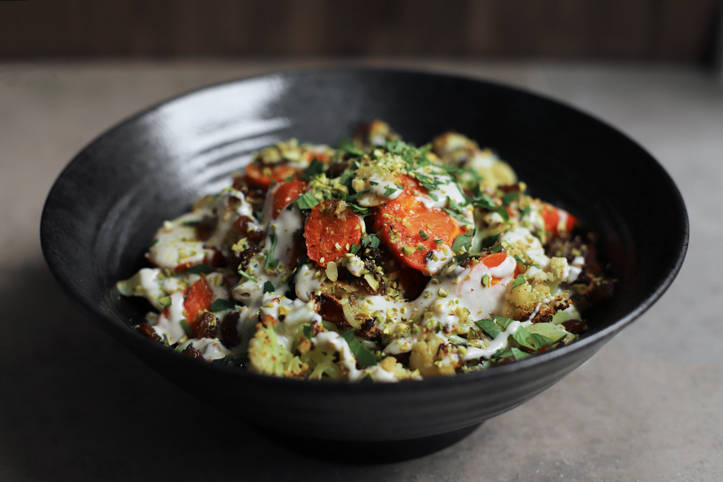 roasted carrot and cauliflower with tahini dressing