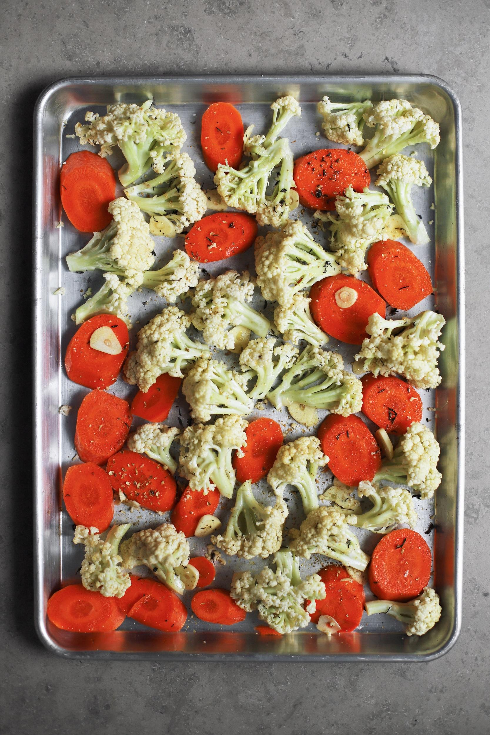 roast carrot and cauliflower with tahini