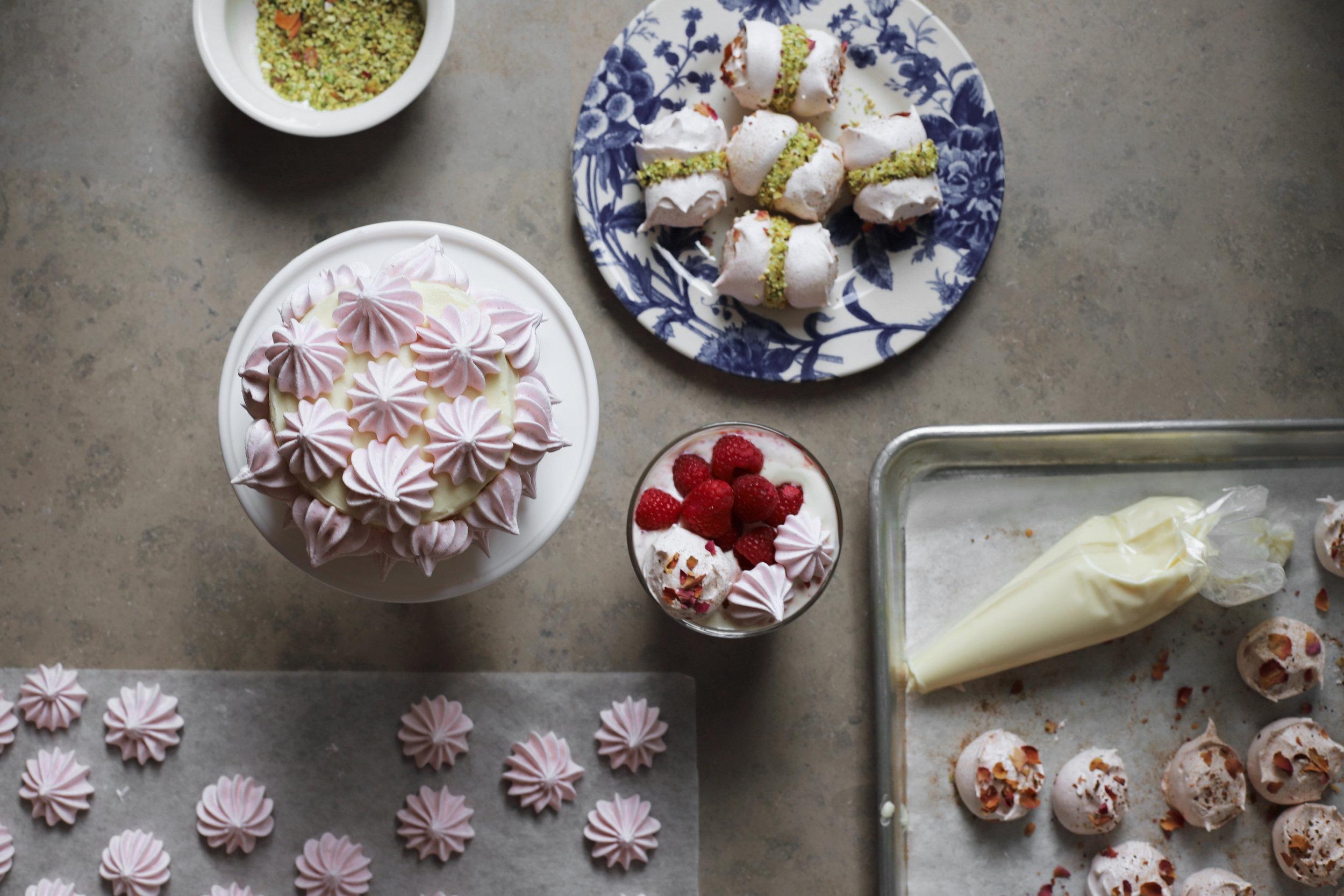 cinnamon rose meringues + a menu