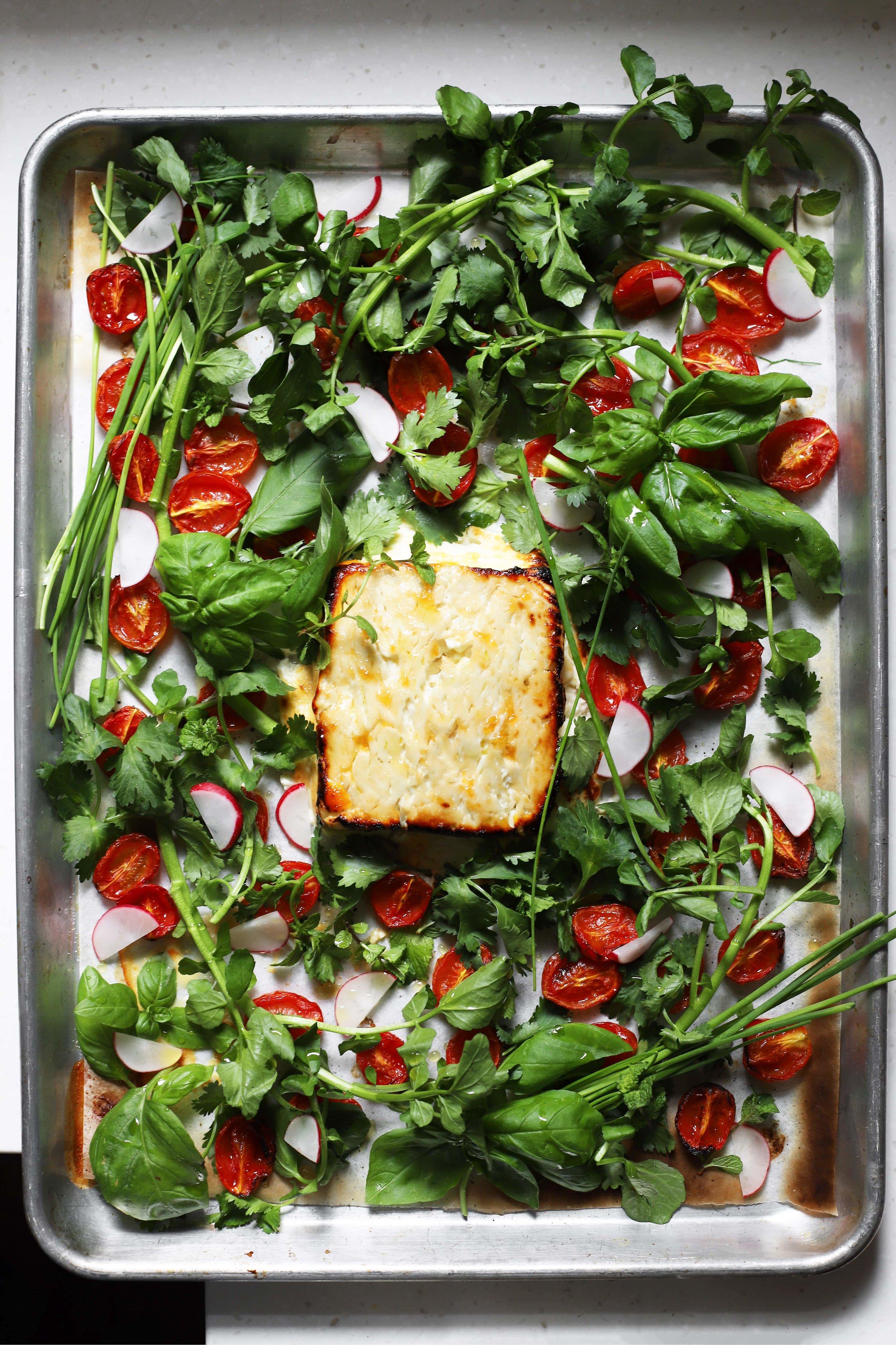 sabzi khordan with baked feta
