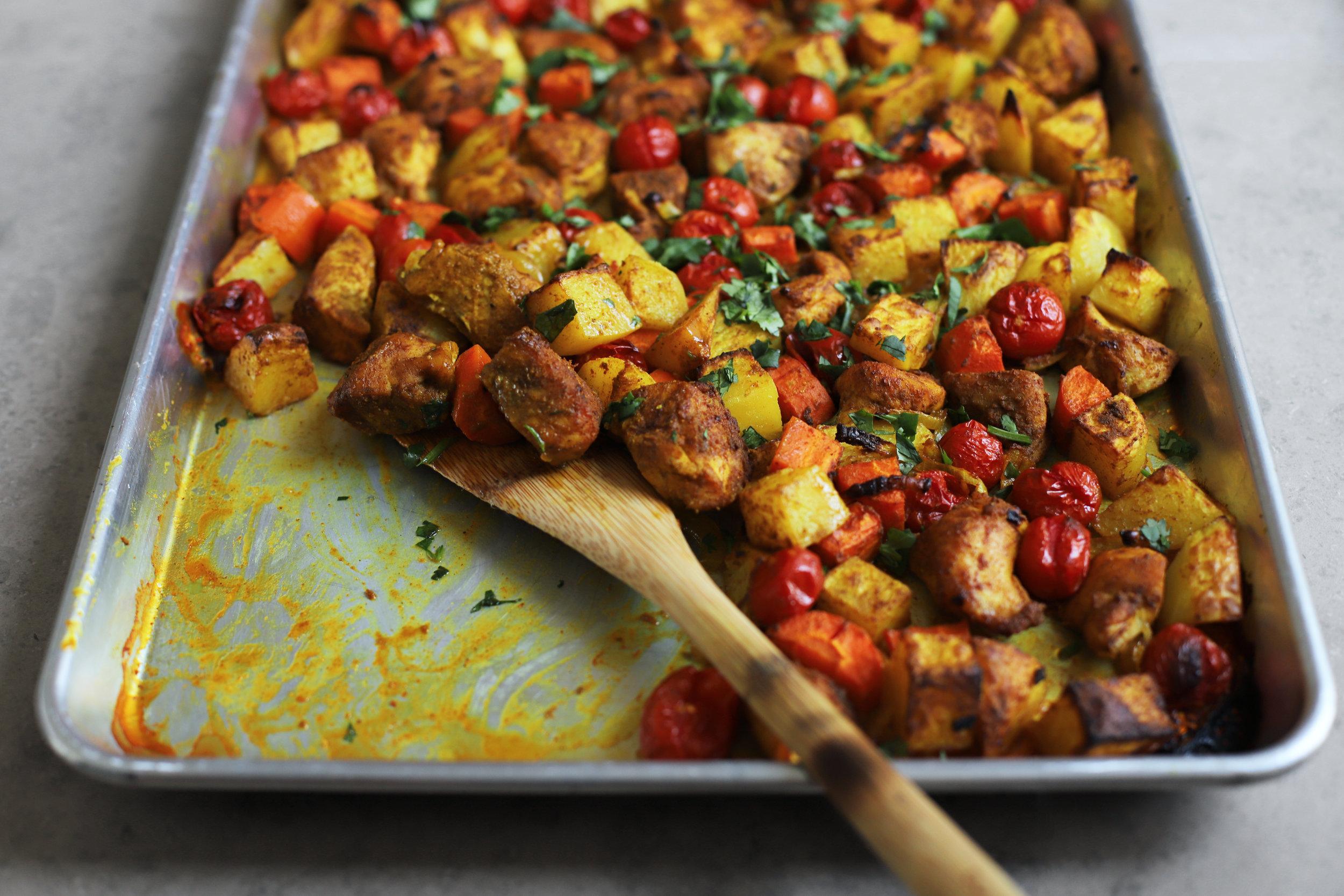 sheet pan chicken curry