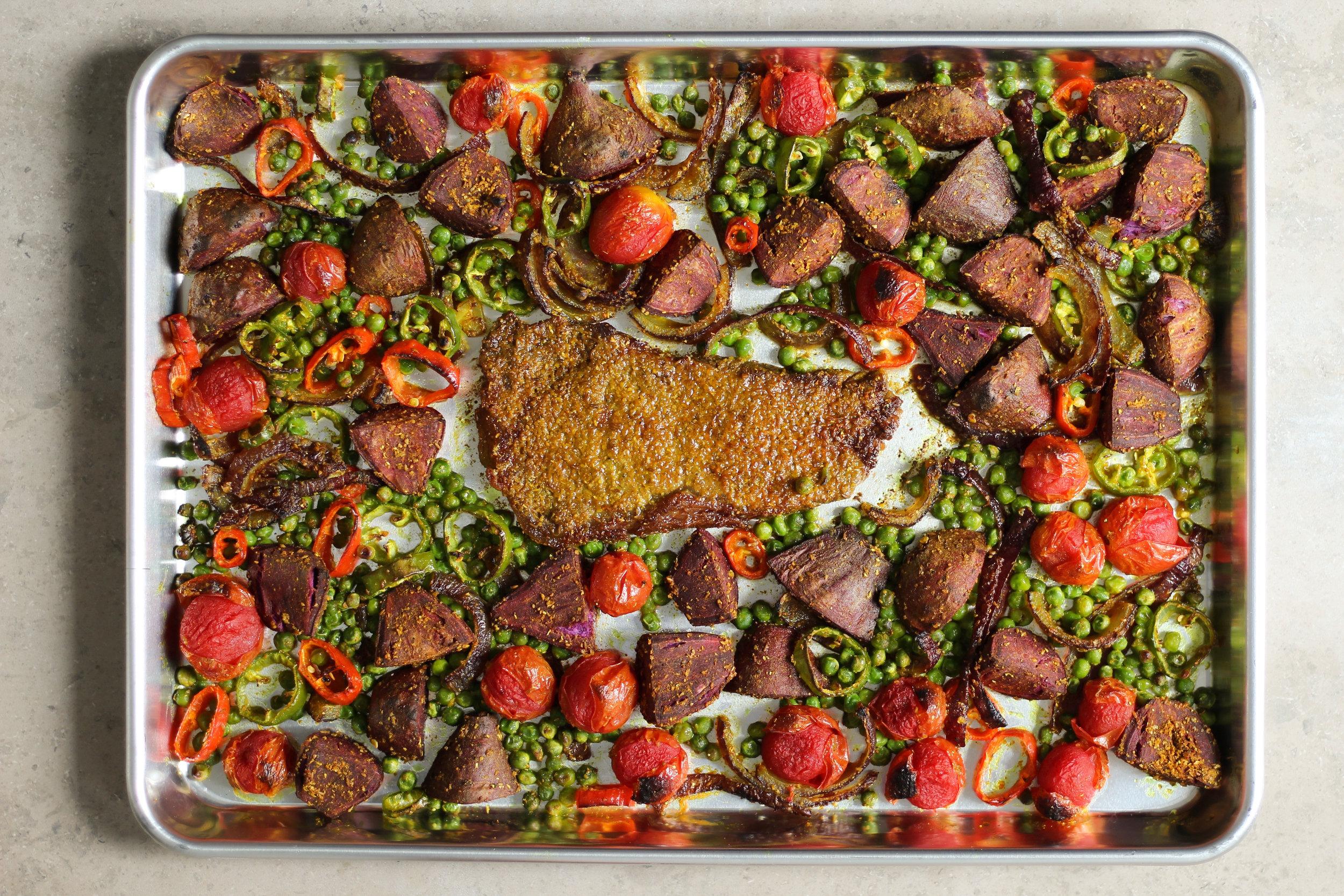 sheet pan kirtopie (potato curry)