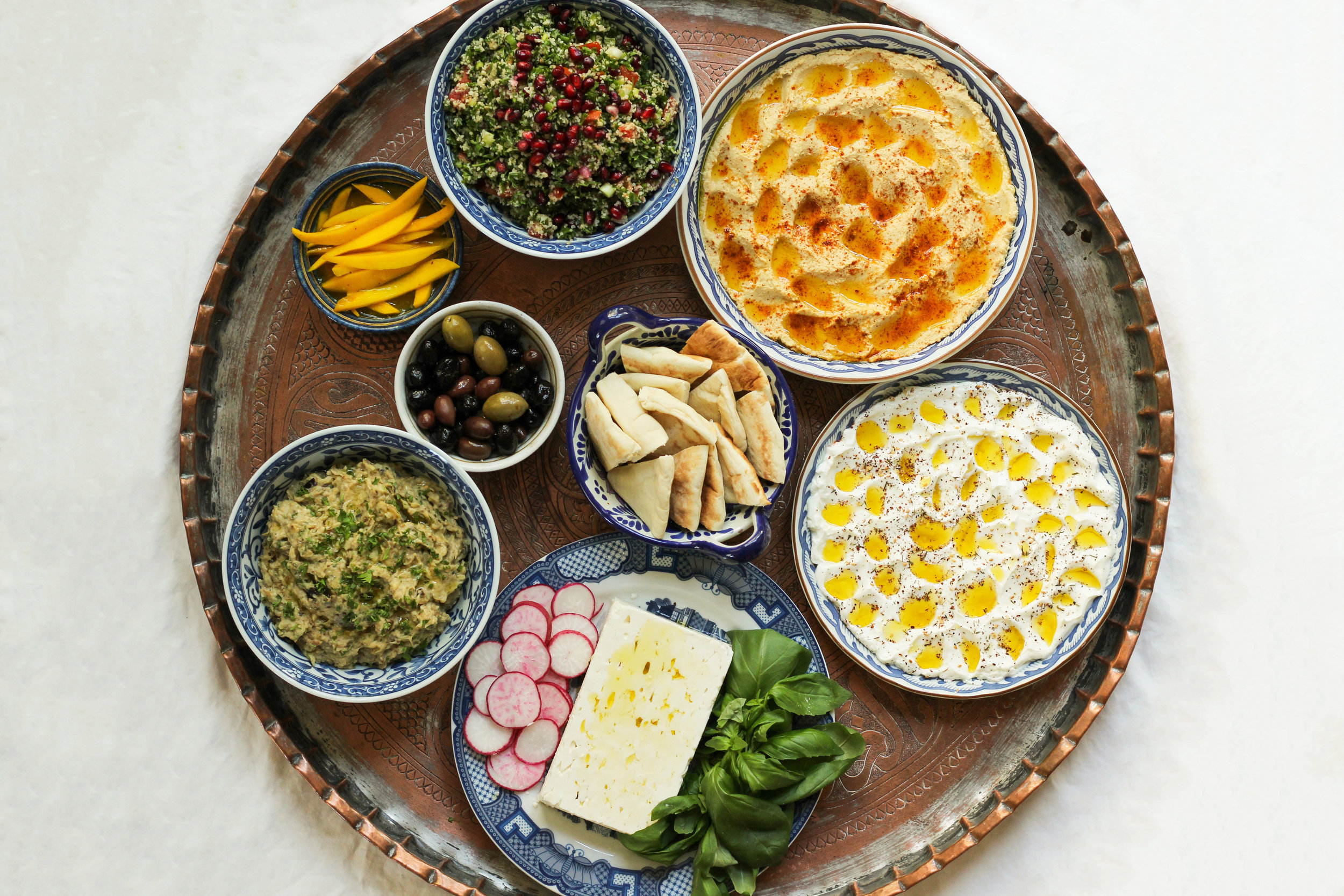 a vegetarian meze dinner party