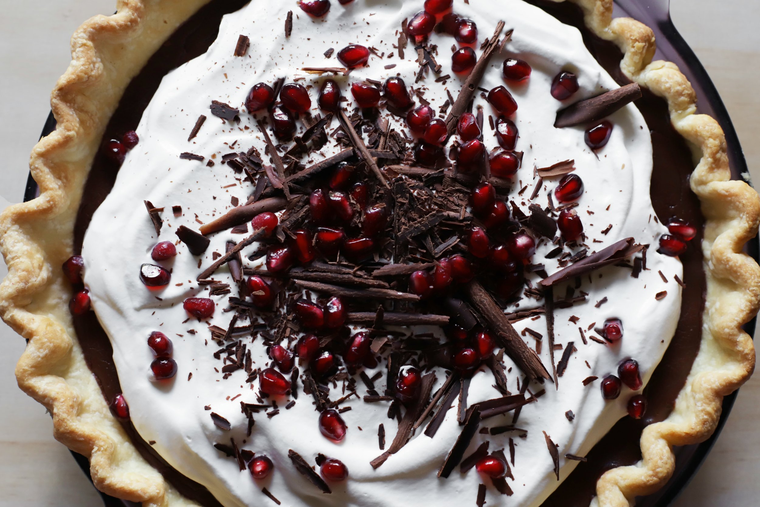 pomegranate chocolate cream pie