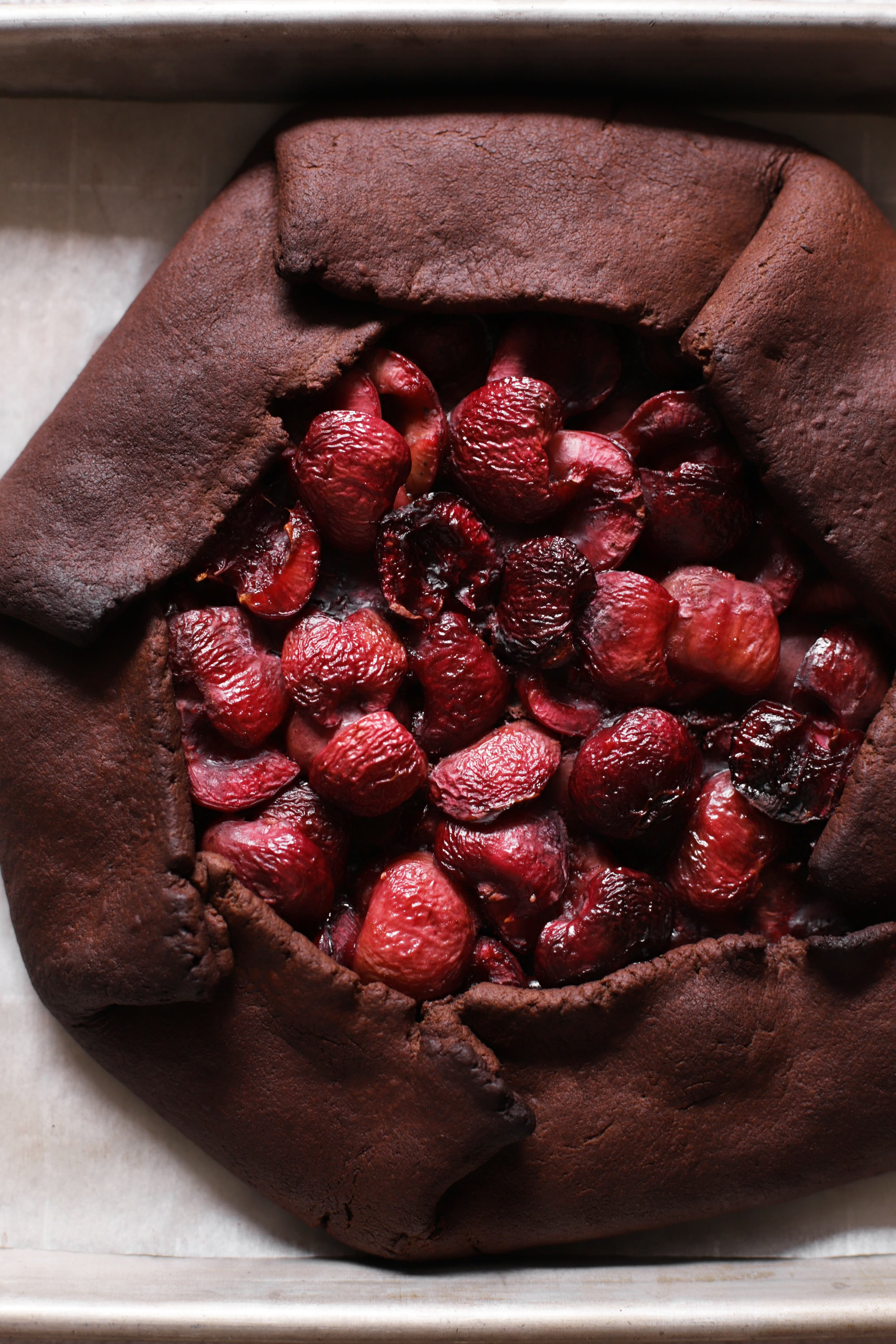 chocolate cherry galette with arak ice cream