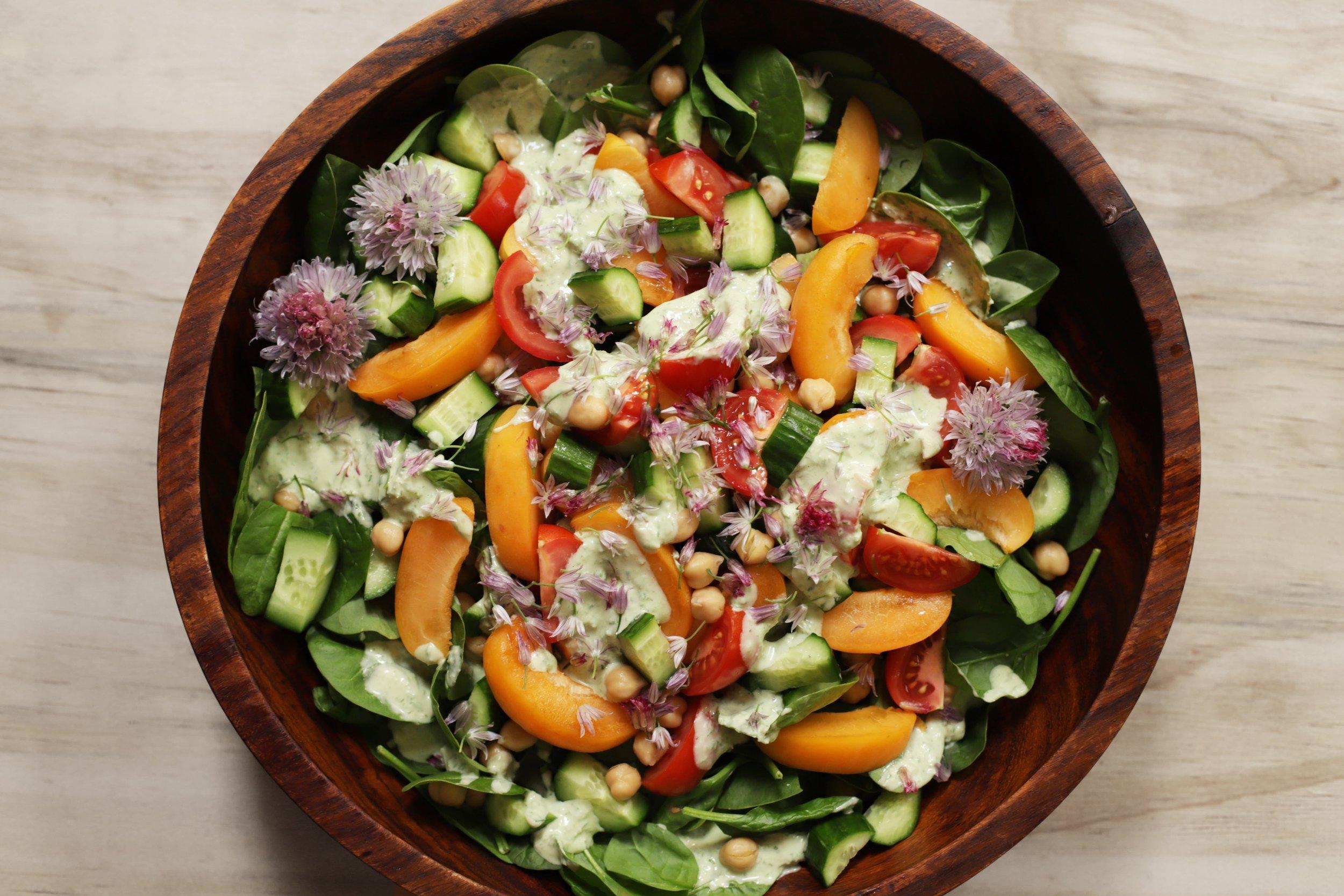 tahini and apricot green goddess salad