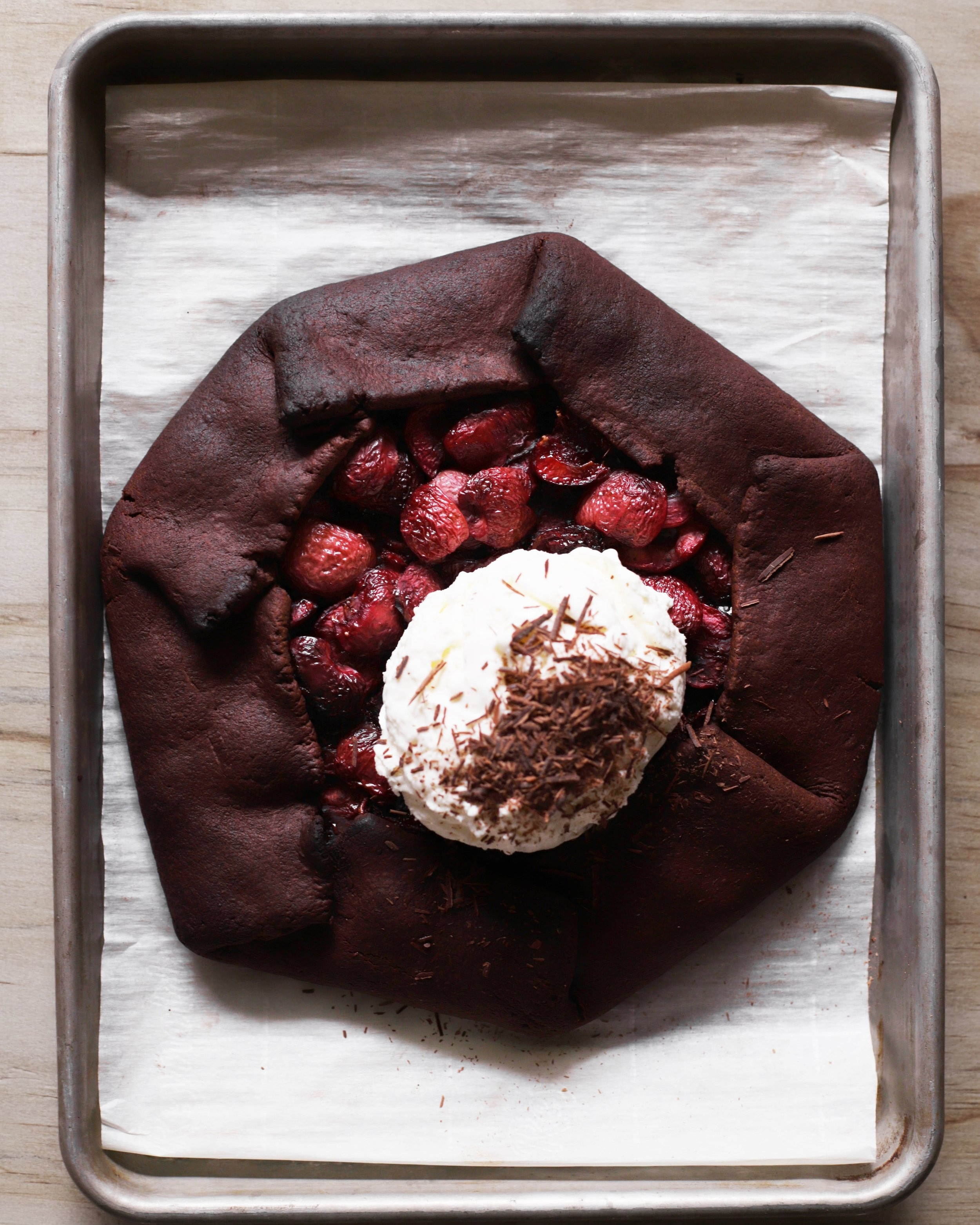 chocolate cherry galette with arak ice cream