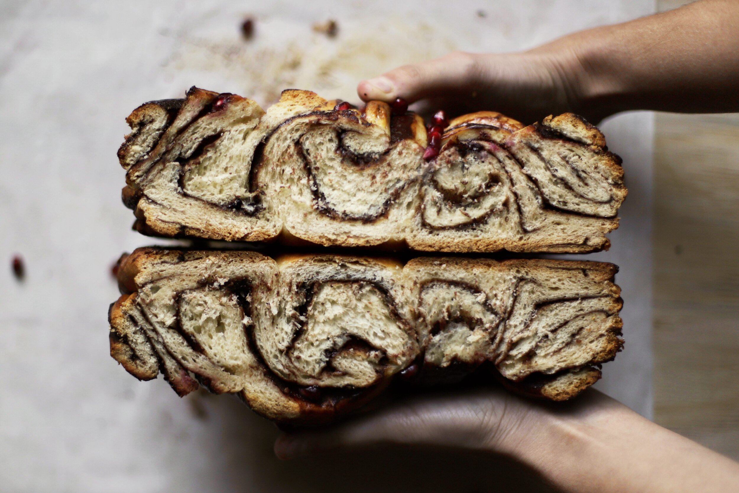 chocolate pomegranate babka