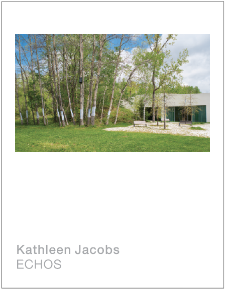 Kathleen Jacobs: ECHOS  12 pages, 8 1/2 x 11 inches.  Written by Grigori Fateyev and Clayton Press and designed by Matthew Polhamus, in collaboration with Kathleen Jacobs.  Published by TurnPark Art Space, West Stockbridge, MA, 2019