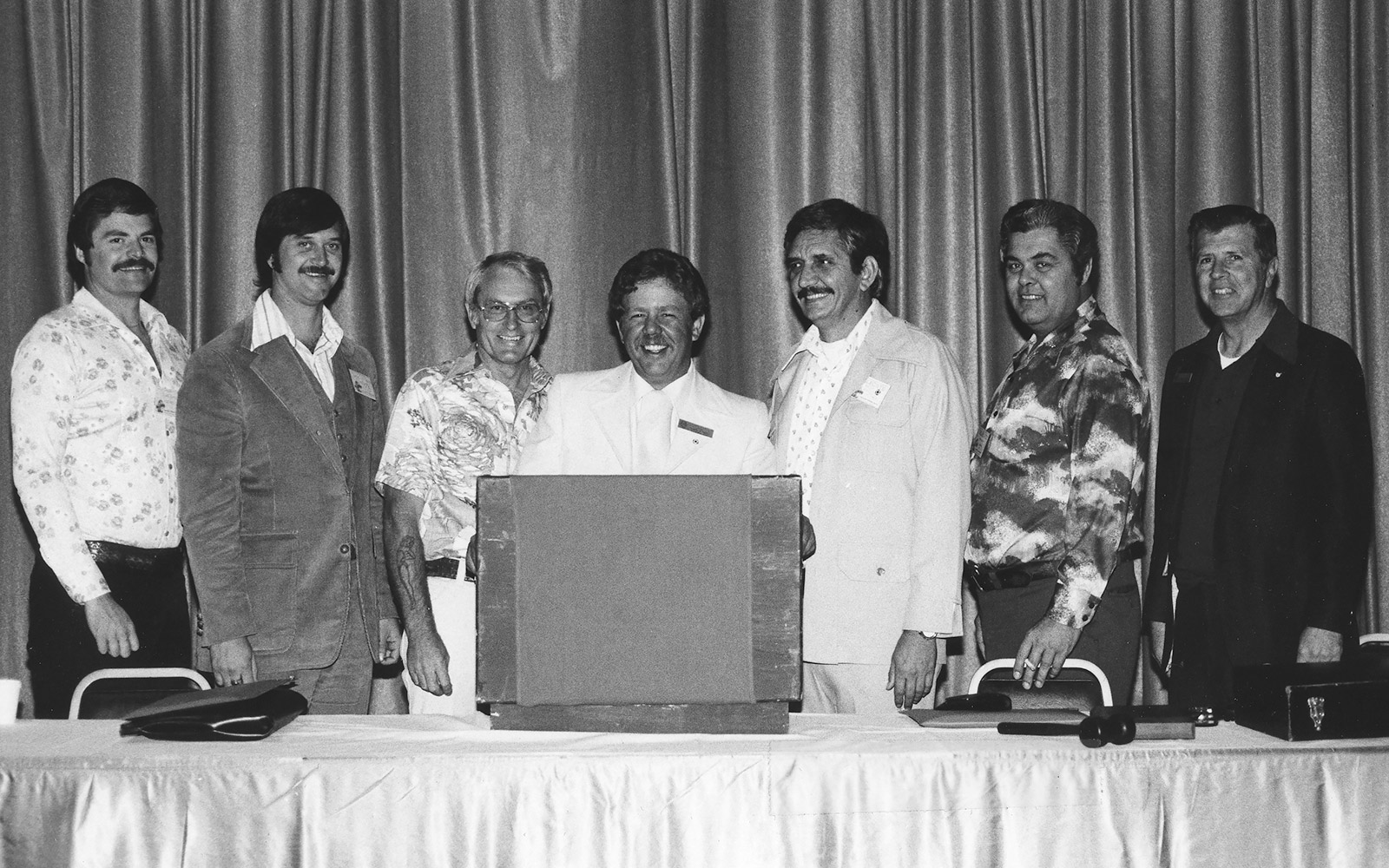 Federated Fire Fighters Executive Board, 1977. Paul Wallace at far right.