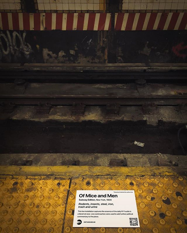 """""""MTA is not just old. It's the history of New York."""" Title: Of Mice and Men (Subway Edition), 1904 This live installation captures the essence of the daily NY hustle in a literal rat race. Live cockroaches were used to add further political commentary to the piece. . . . #mtamuseum #mta #modernart #newyorksubway #newyorker #nyc #newyork #bedfordave #installationart #artist #artmuseum #masterpiece #art #history #ny #subway #station #hipster #brooklyn #williamsburg #streetart #newyorkcity #cool #moma #metropolitanmuseumofart #whitneymuseum #brooklynmuseum #momaps1 #guggenheim #artwork"""