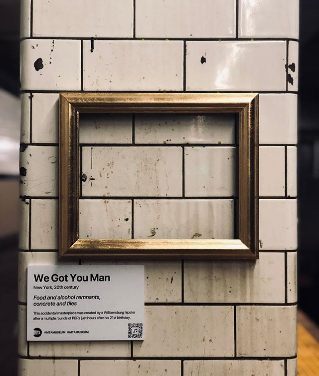 """""""MTA is not just old. It's the history of New York."""" Title: We Got You Man  Food and alcohol remnants, concrete and tiles. This accidental masterpiece was created by a Williamsburg hipster after a multiple rounds of PBRs just hours after his 21st birthday. . . #mtamuseum #mta #modernart #newyorksubway #newyorker #nyc #newyork #bedfordave #installationart #artist #artmuseum #masterpiece #art #history #ny #subway #station #hipster #brooklyn #williamsburg #mtasubway #commuter #cool #moma #metropolitanmuseumofart #whitneymuseum #brooklynmuseum #momaps1 #guggenheim #artwork"""