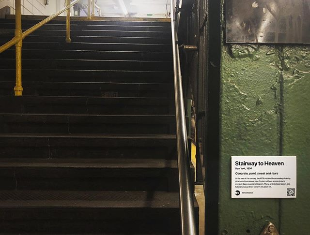 """""""MTA is not just old. It's the history of New York."""" Title: Stairway to Heaven, 1904 At the turn of the century, the MTA installed these analog climbing structures to empower New Yorkers without access to gym memberships or personal trainers. These architectural pieces also helped because there weren't elevators yet. . . . #mtamuseum #mta #modernart #newyorksubway #newyorker #nyc #newyork #bedfordave #installationart #artist #artmuseum #masterpiece #art #history #ny #subway #station #hipster #brooklyn #williamsburg #mtasubway #newyorkcity #cool #moma #metropolitanmuseumofart #whitneymuseum #brooklynmuseum #momaps1 #guggenheim #artwork"""