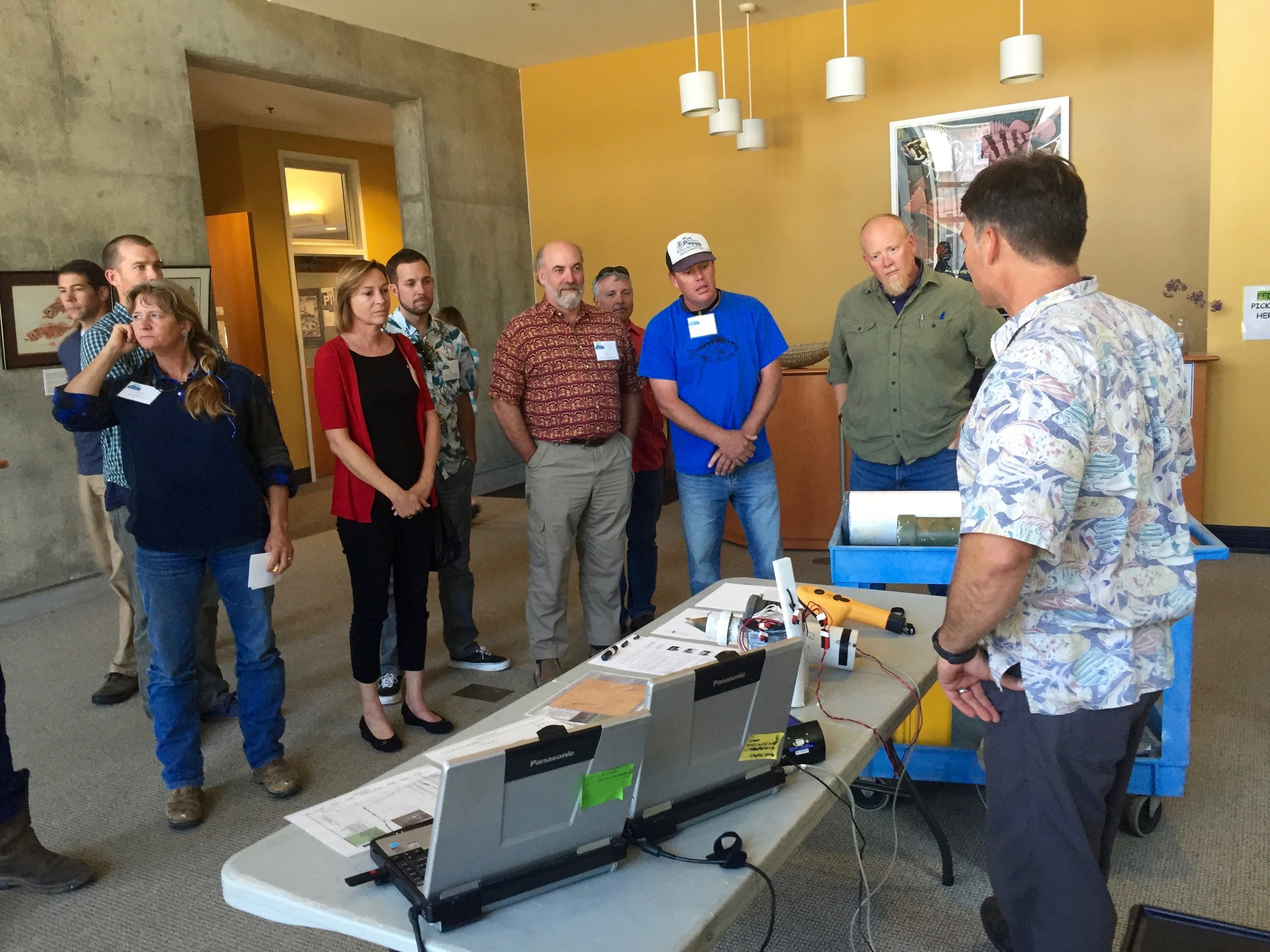 Fishermen and other participants learn about the electronic tagging program at the Southwest Fisheries Science Center in Santa Cruz, MREP 2016.