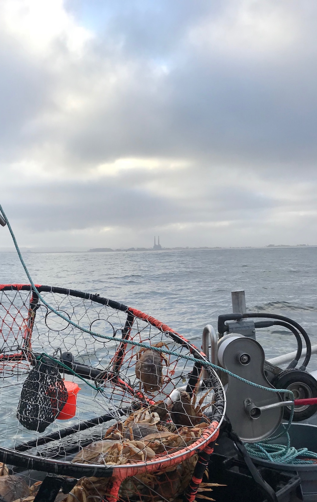The stacks serve as a navigational landmark for fishermen while they are harvesting their sustainable catch in and around the Bay. Photo credit:  Calder Deyerle .