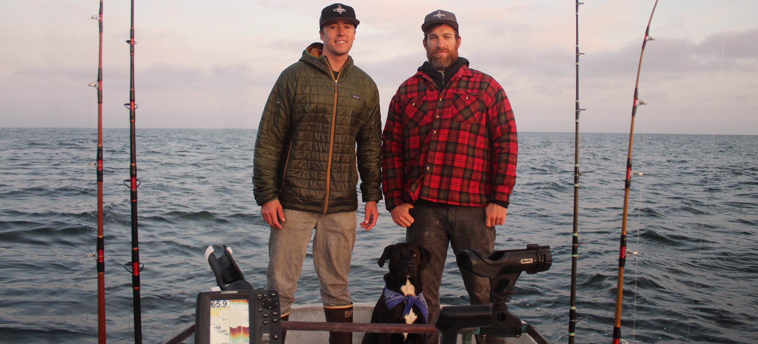 Fishermen, best friends, and co-founders Charlie Lambert (L) and Ian Cole (R) of Ocean2Table. Photo credit: Charlie Lambert.