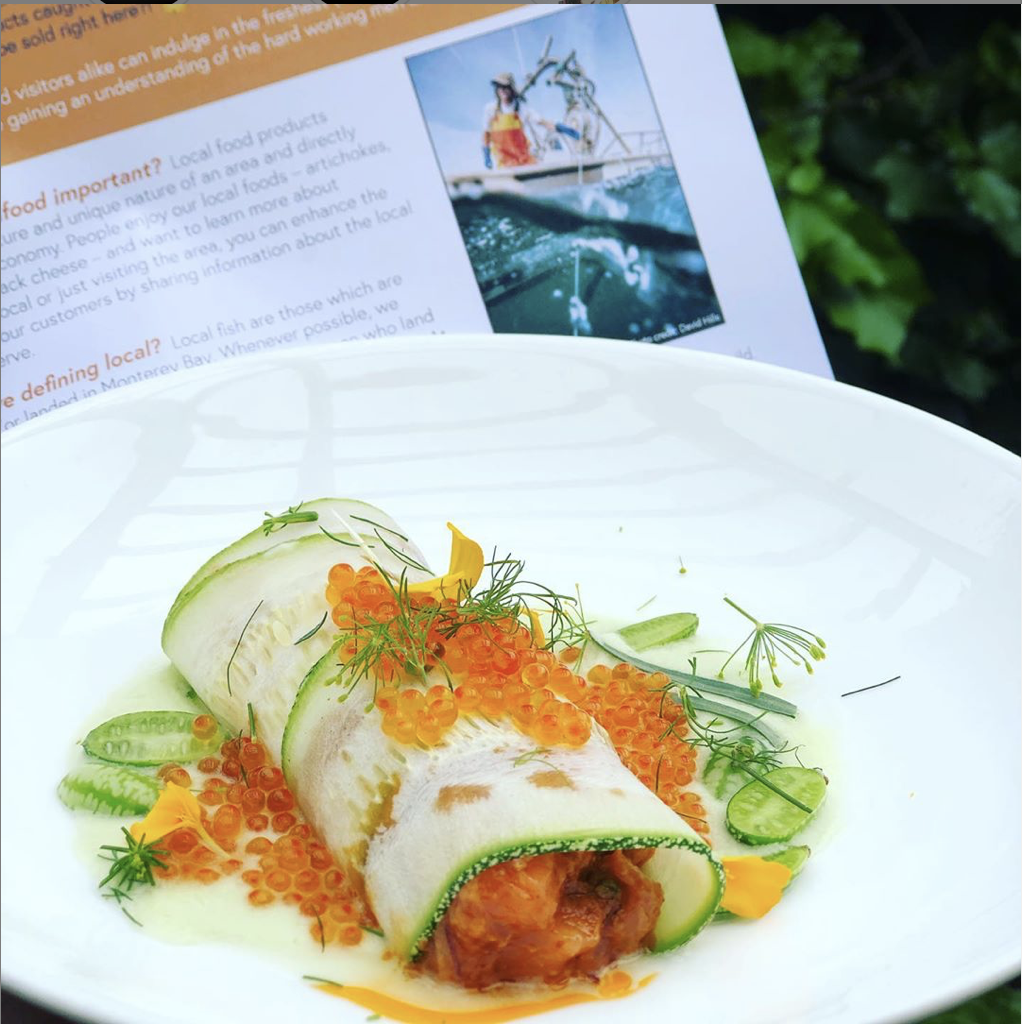 Wild caught, local King salmon involtini served with HOMEgrown summer squash, sour mexican gherkins, and smoked trout roe. Chris Seeno (F/V - Sculpin; Moss Landing). Created by  Chef Brad Briske  of  HOME,  Get Hooked partner.