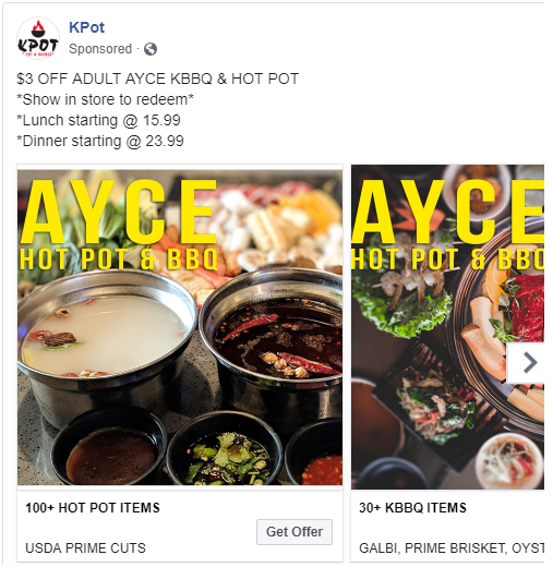~$3 OFF~ AYCE - For all of our Facebook and Instagram followers, enjoy this this limited time offer. Please show this offer and like/follow to redeem. Cannot be combined with any other offers. Valid for Adult AYCE only. Expires 8/31/19.