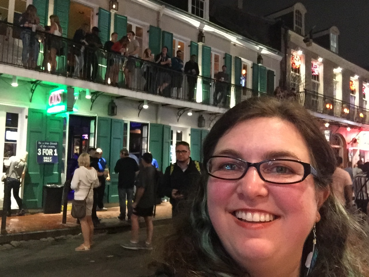 Blurry selfie on Bourbon Street. Blur-bon Street.