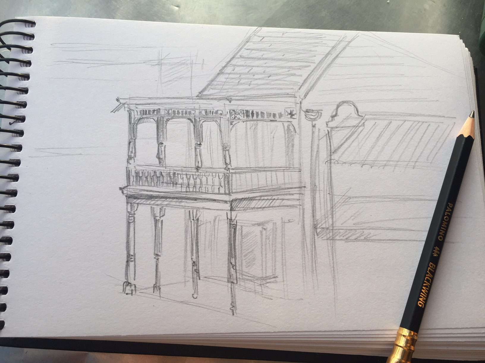 I wish I had the patience to draw all of the detailed ornamentation, or to draw buildings at all, but alas, I do not.