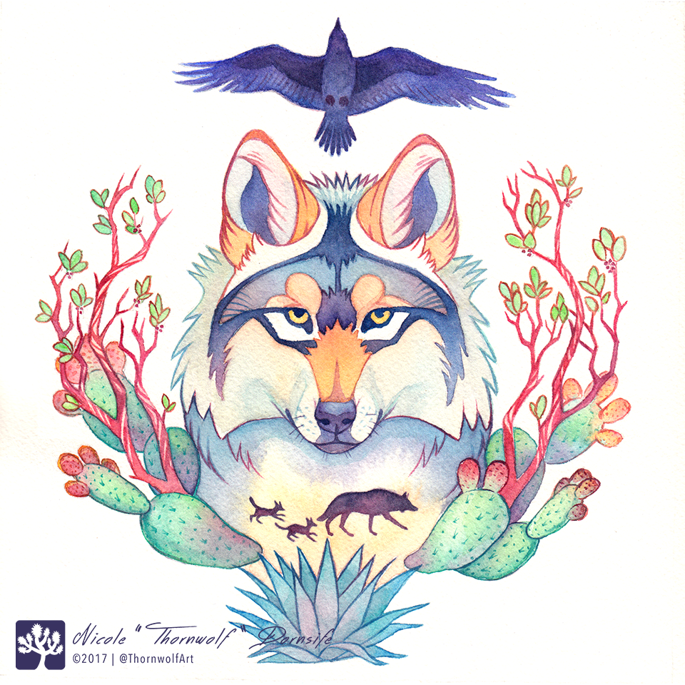 Mexican gray wolf with raven, prickly pear cactus, blue agave, and manzanita.