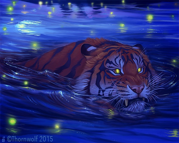 A tiger swims at night among fireflies.
