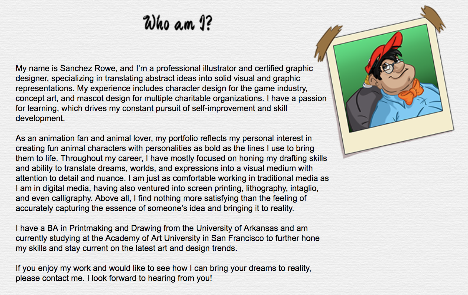 (Click image to enlarge.) And here's his bio after I worked my magic, borrowing a bit from his resume.
