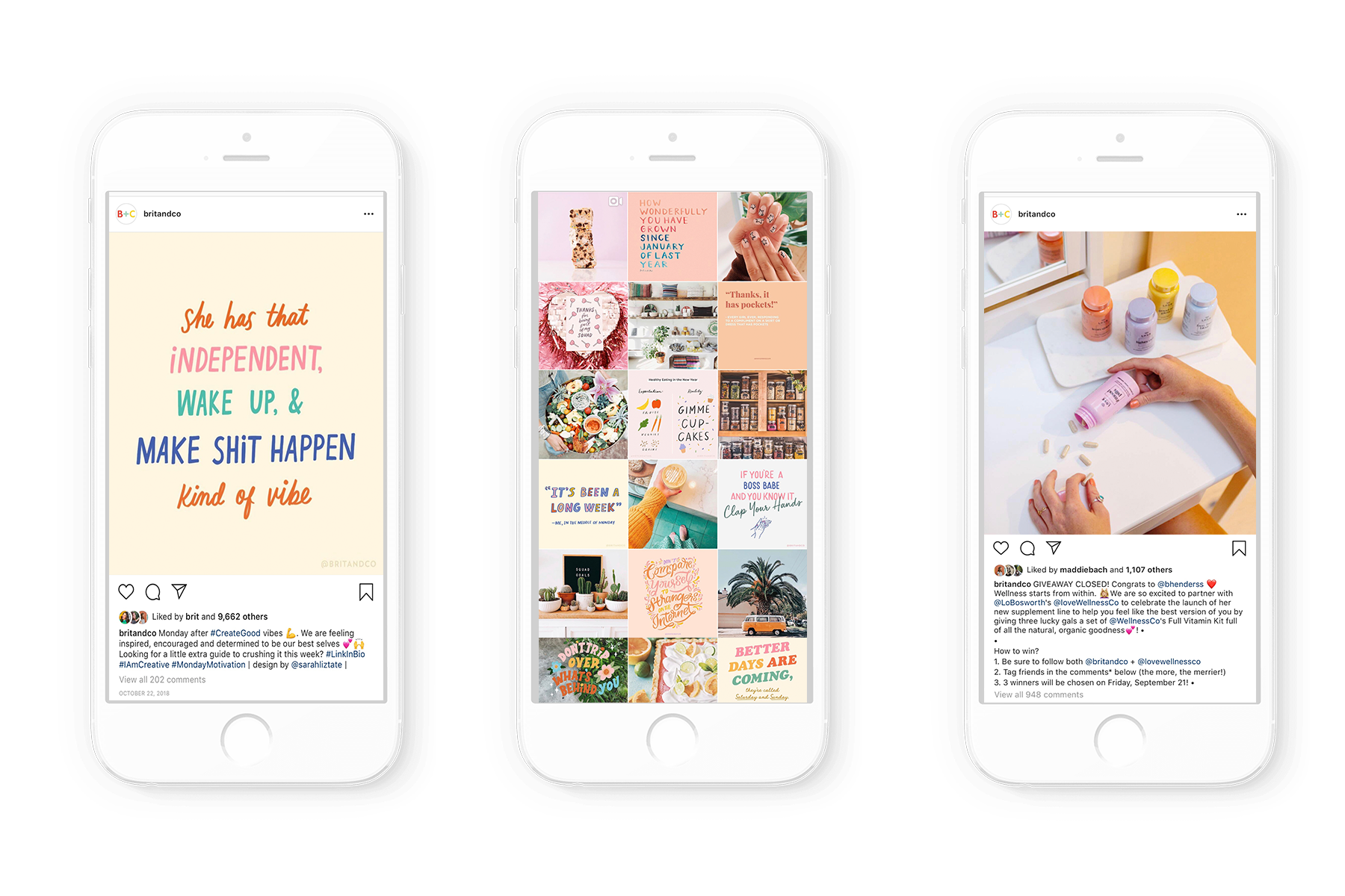 1 . Top performing Instagram asset for Brit + Co ideated by Kara and created by design team.   2 . Brit + Co Instagram feed curated, edited, and designed by Kara   3 . Giveaway with @LoBosworth and @LoveWellnessCo that was successful in cross-promotion and brand awareness