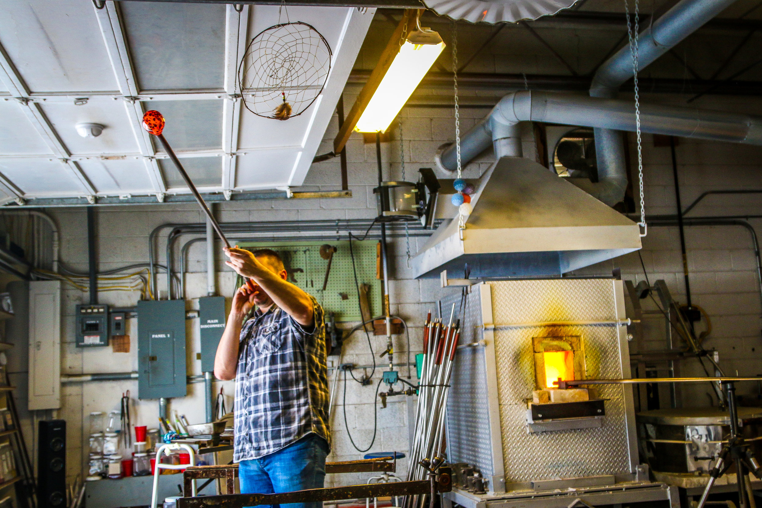 Todd Giving a Glass-Blowing Demonstration