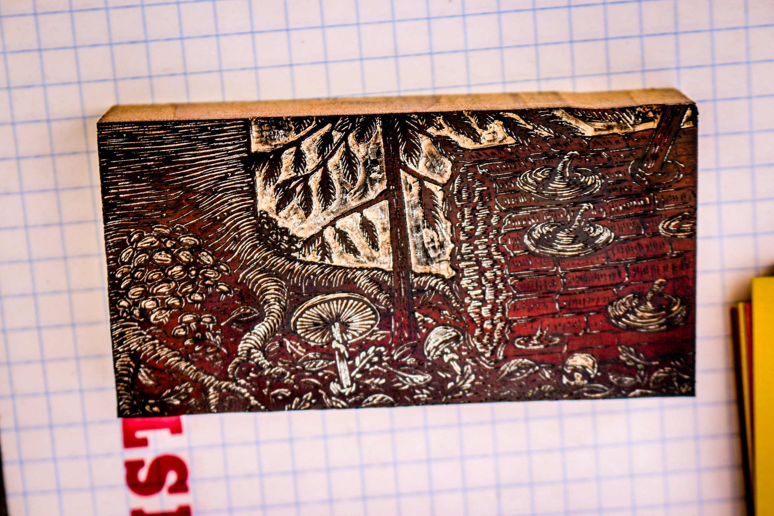 Hand-Carved Wood Engraving Block