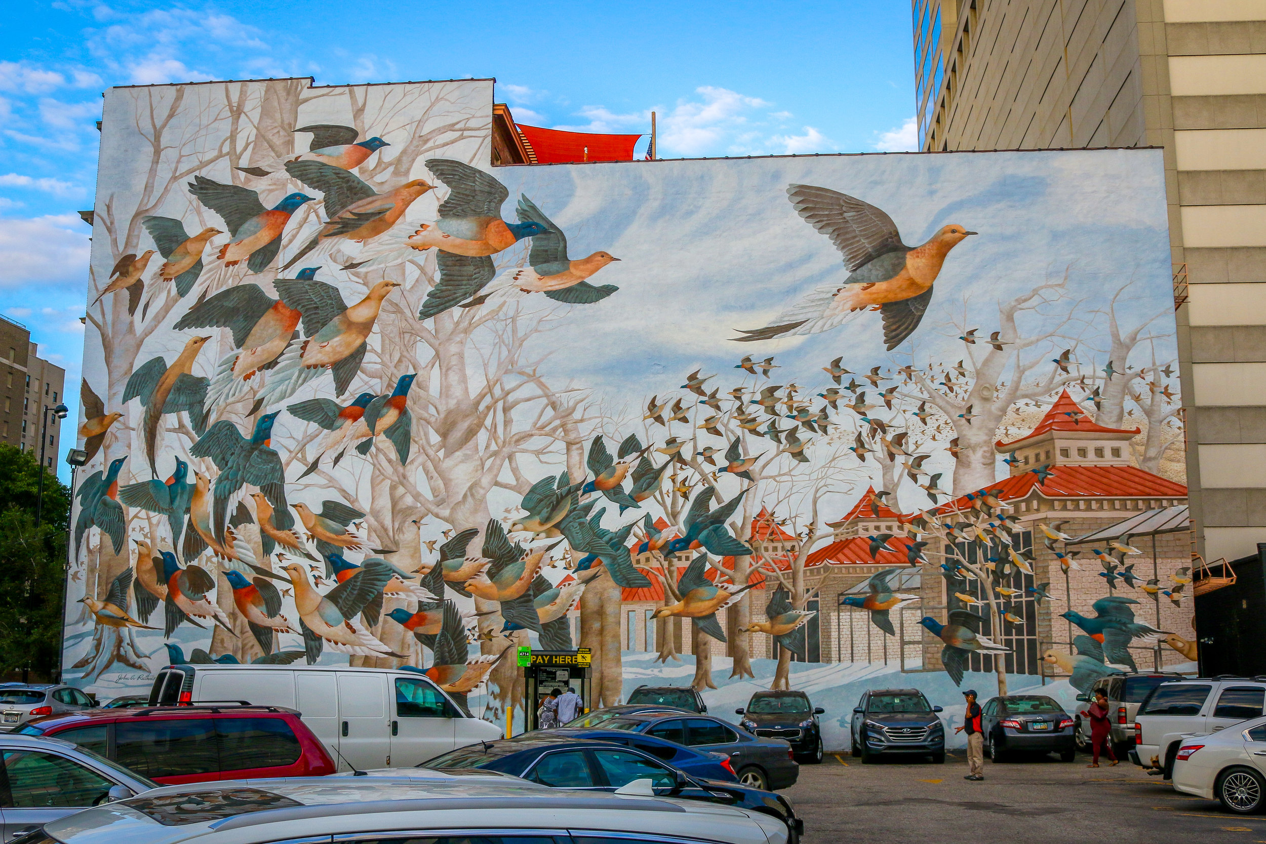 birds flying mural Cincinnati Ohio
