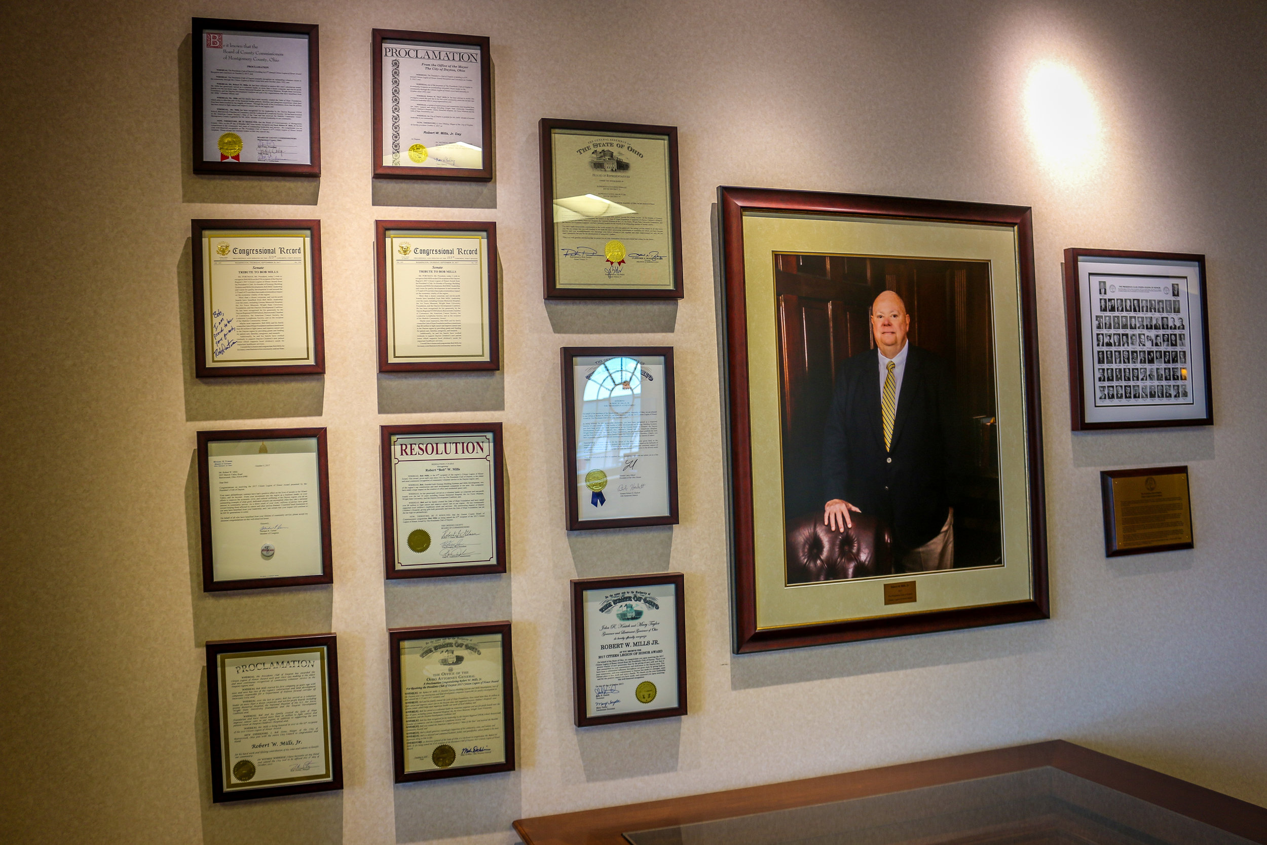 Some of Bob Mill's Recognition Certificates