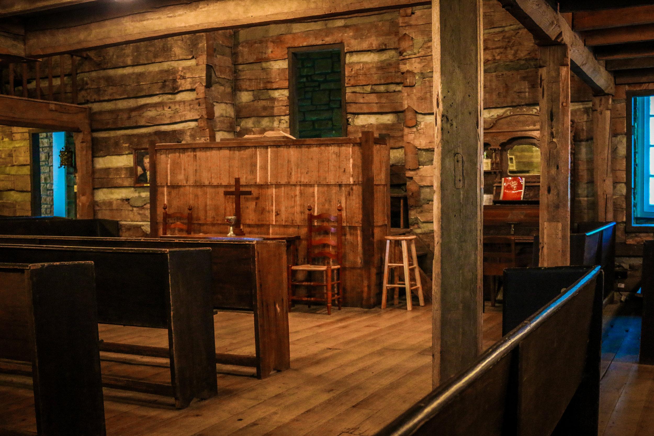 Inside Cane Ridge Meeting House