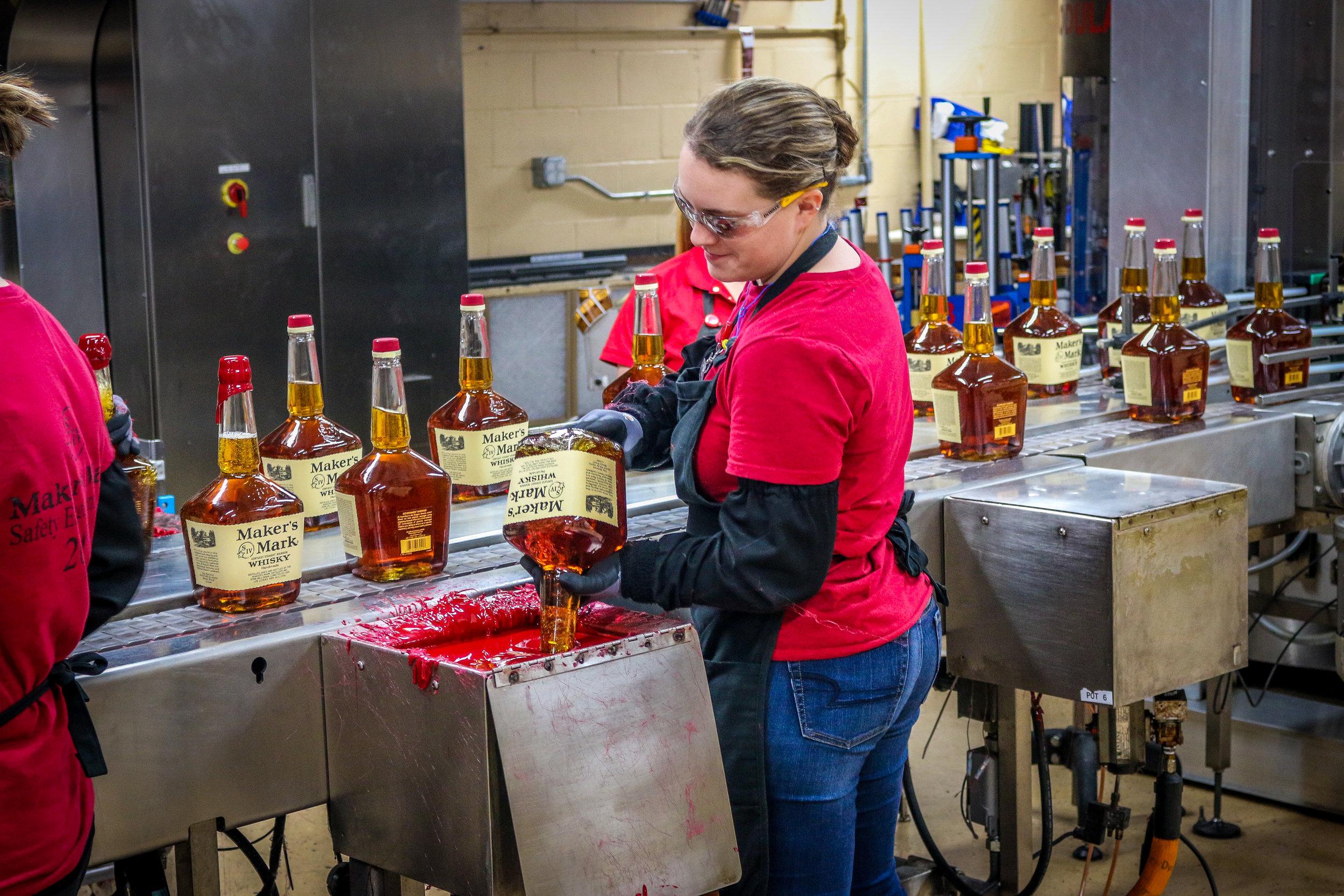 Dipping Bottles at Maker's Mark