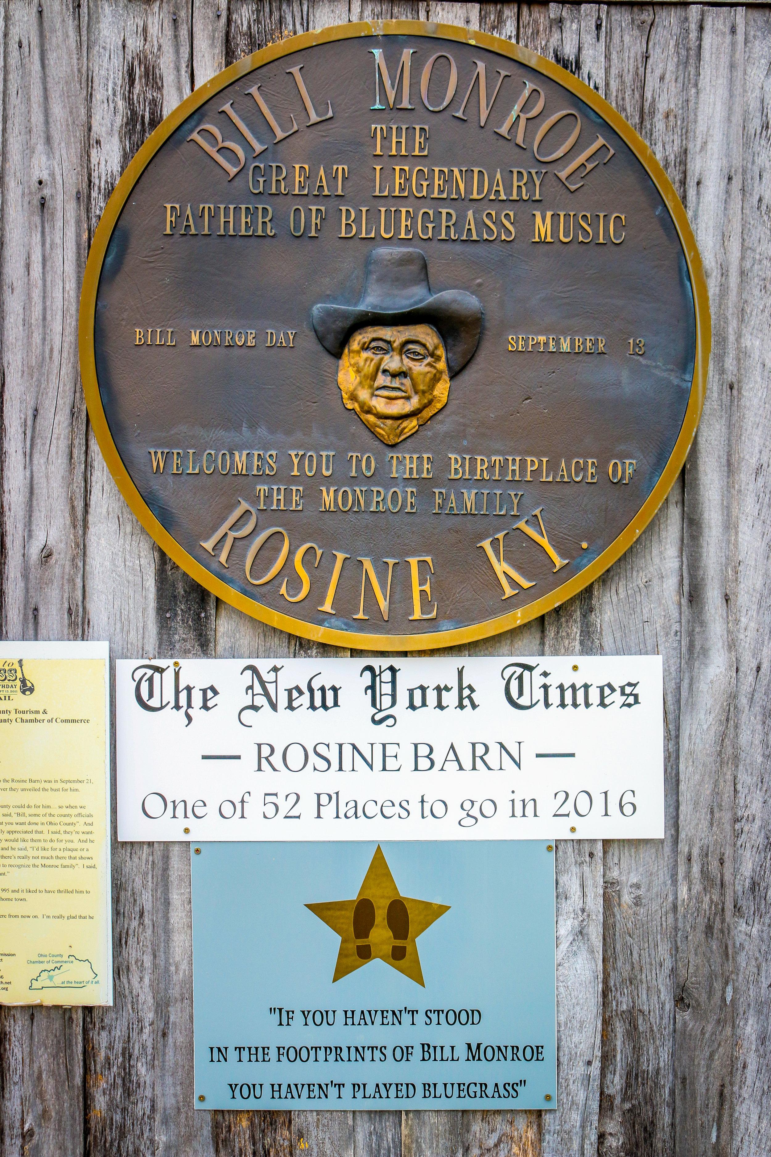 Bill's Plaque at the Barn Jamboree