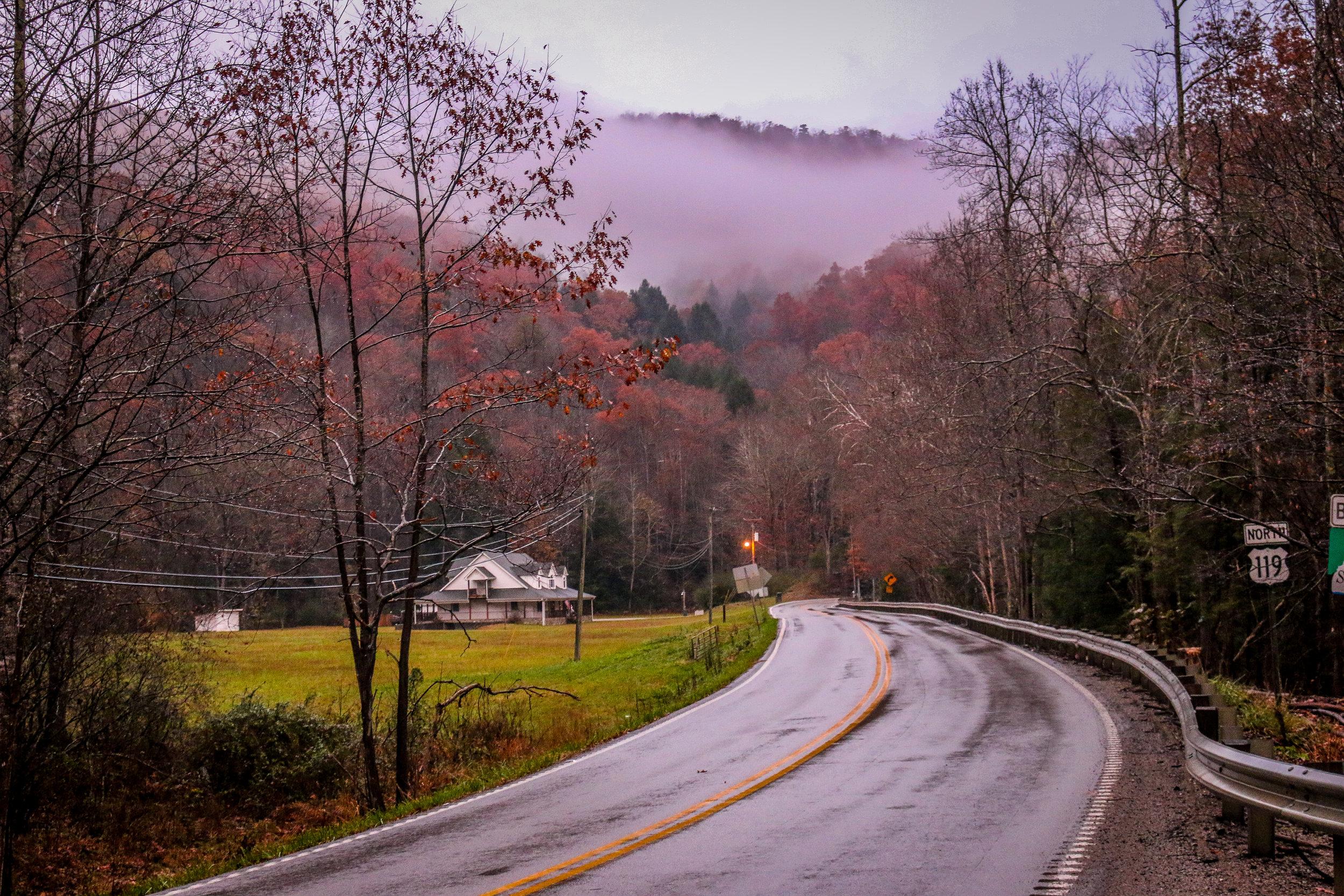Appalachian Highway 119 in the Fog