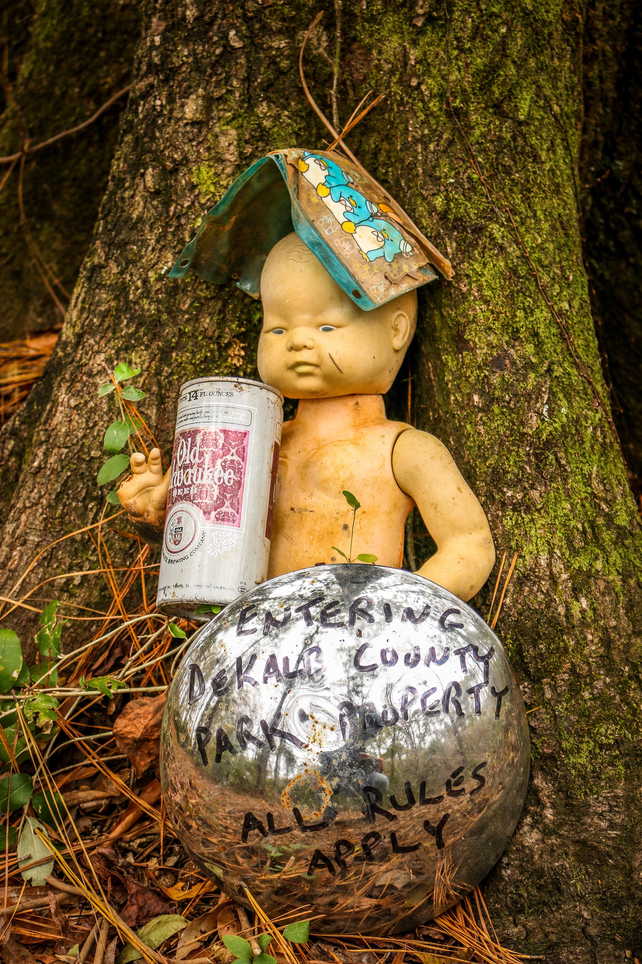 creepy doll's head trail constitution lakes atlanta georgia