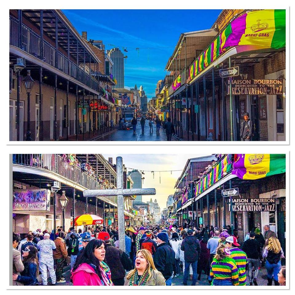 Bourbon St. 8 a.m. and 4 p.m.