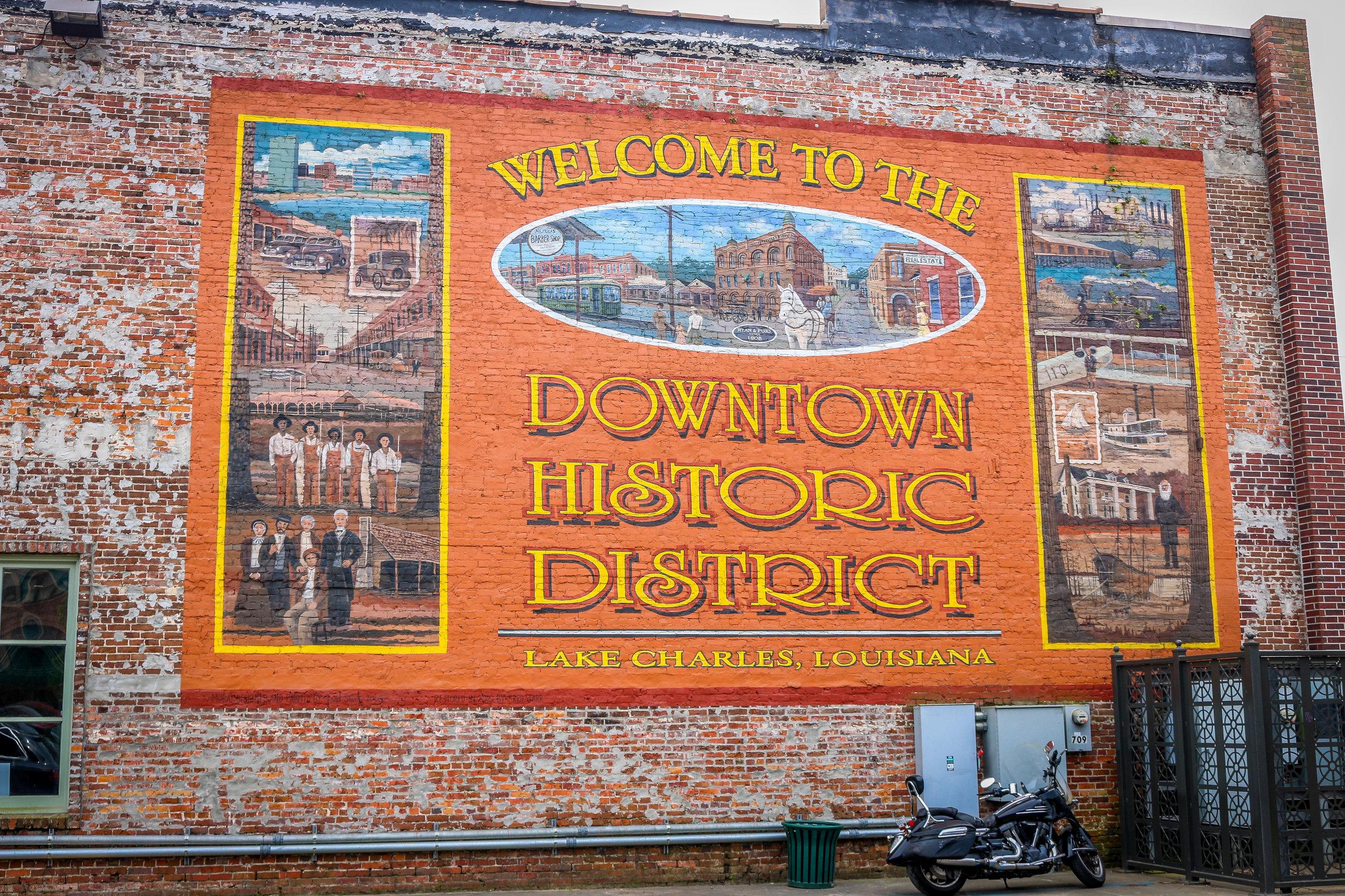 historic downtown lake charles mural louisiana
