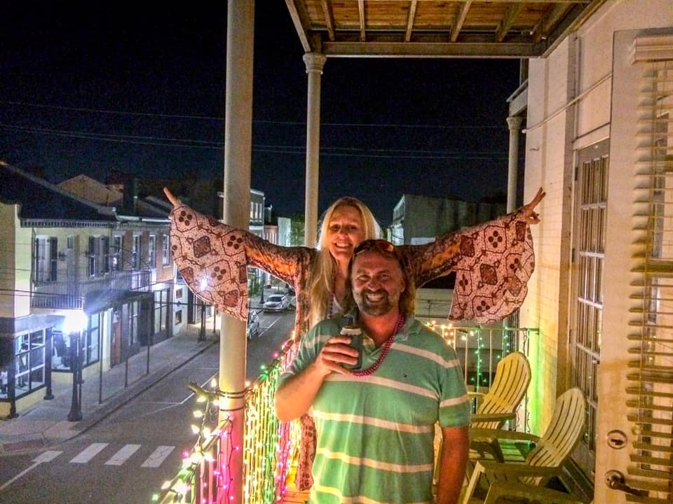 Shelley and I on Her Balcony