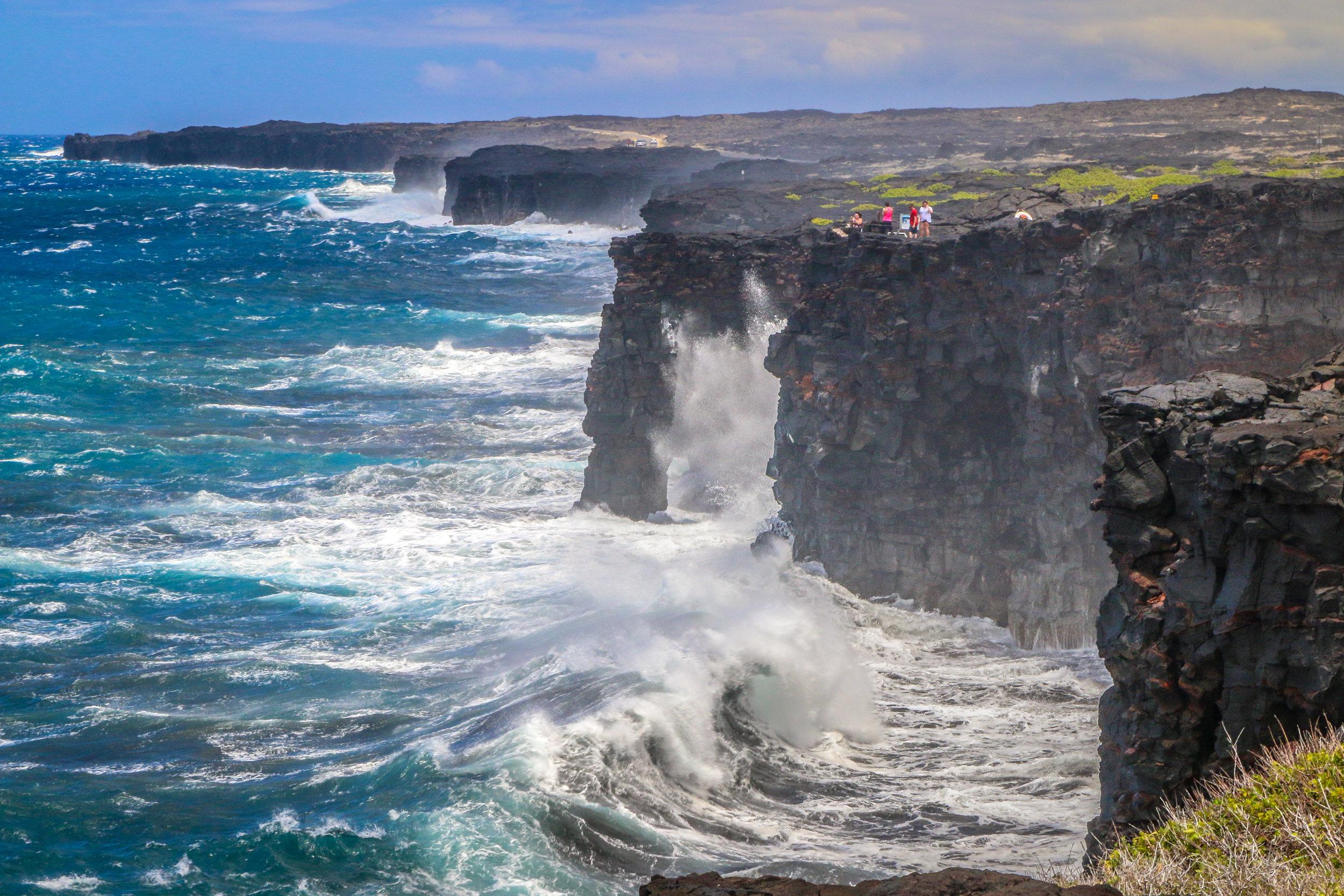 Hawaii HI Big Island Photos Photography waves crashing Volcano National Park