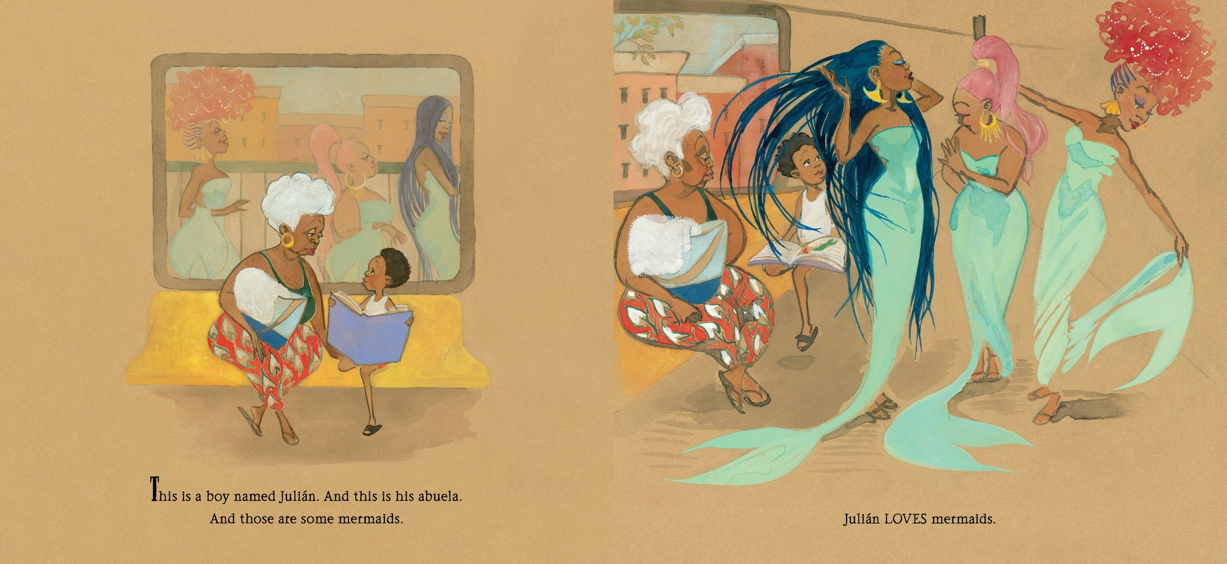 Interior spread from  Julián is a Mermaid