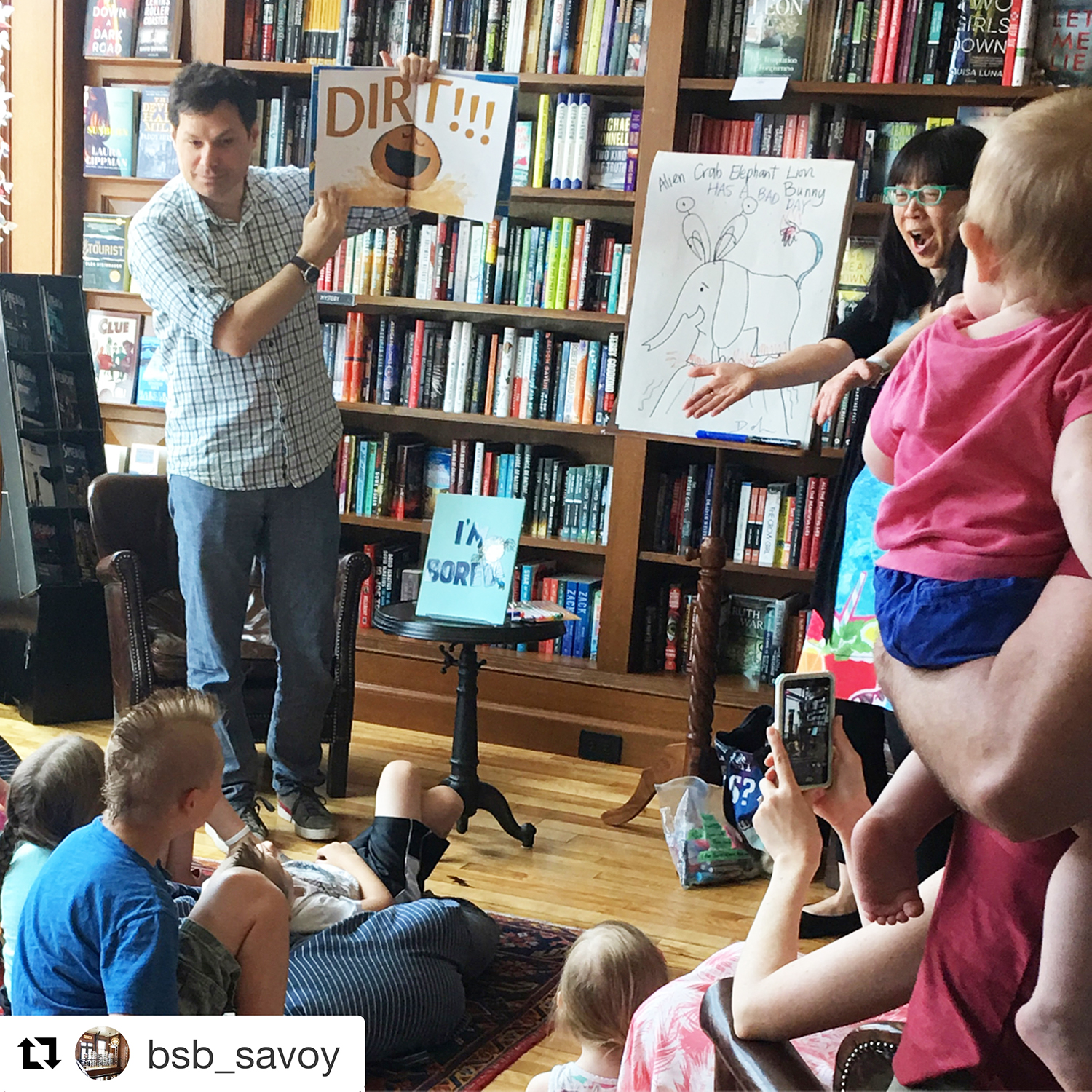 Michael Ian Black and Debbie talk to young readers at Savoy Bank Street in Westerly, RI