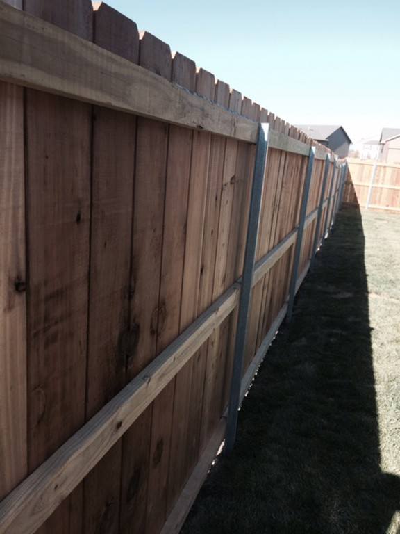 Residential-Wood-Fence-Steel-Posts-Wichita-KS