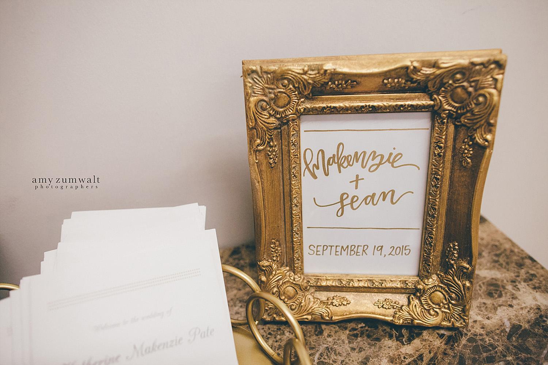 Dallas Baptist Church wedding gold welcome sign