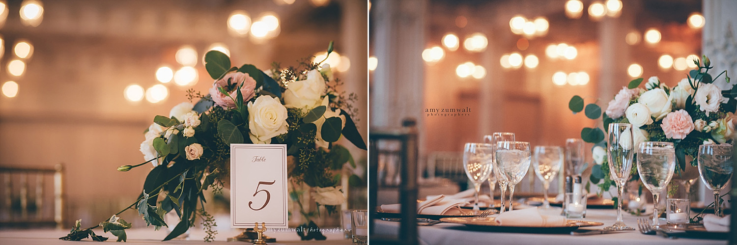 Dallas Scottish Rite Library and Museum wedding crystal ballroom white and blush flowers and table number