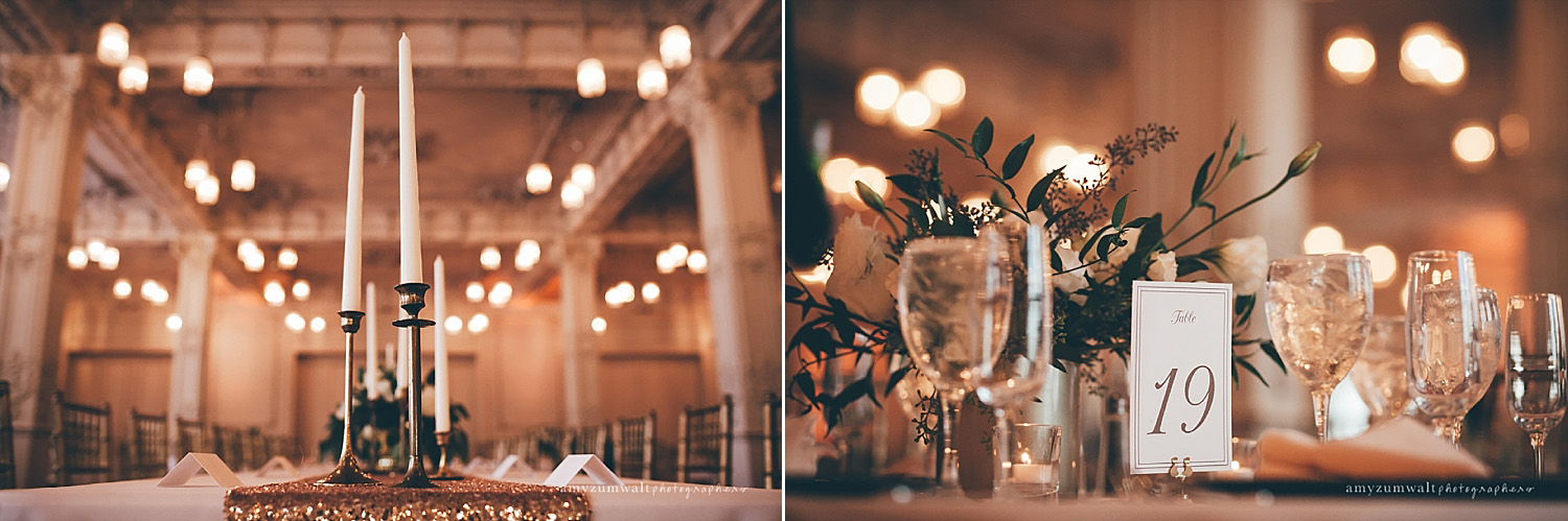Dallas Scottish Rite Library and Museum wedding crystal ballroom table number and tapered candles