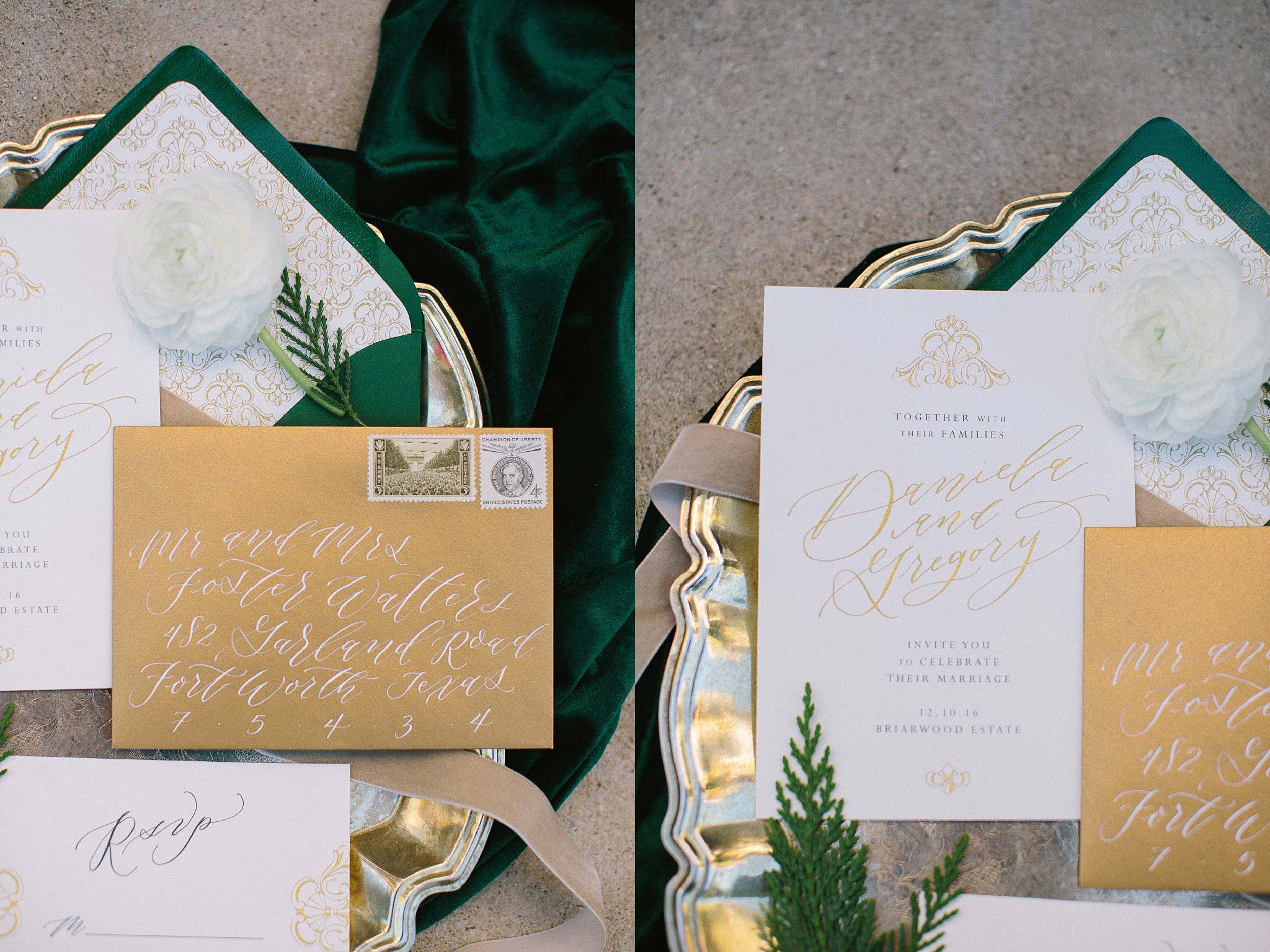 aristide mansfield wedding green and gold invitations with gold monogram