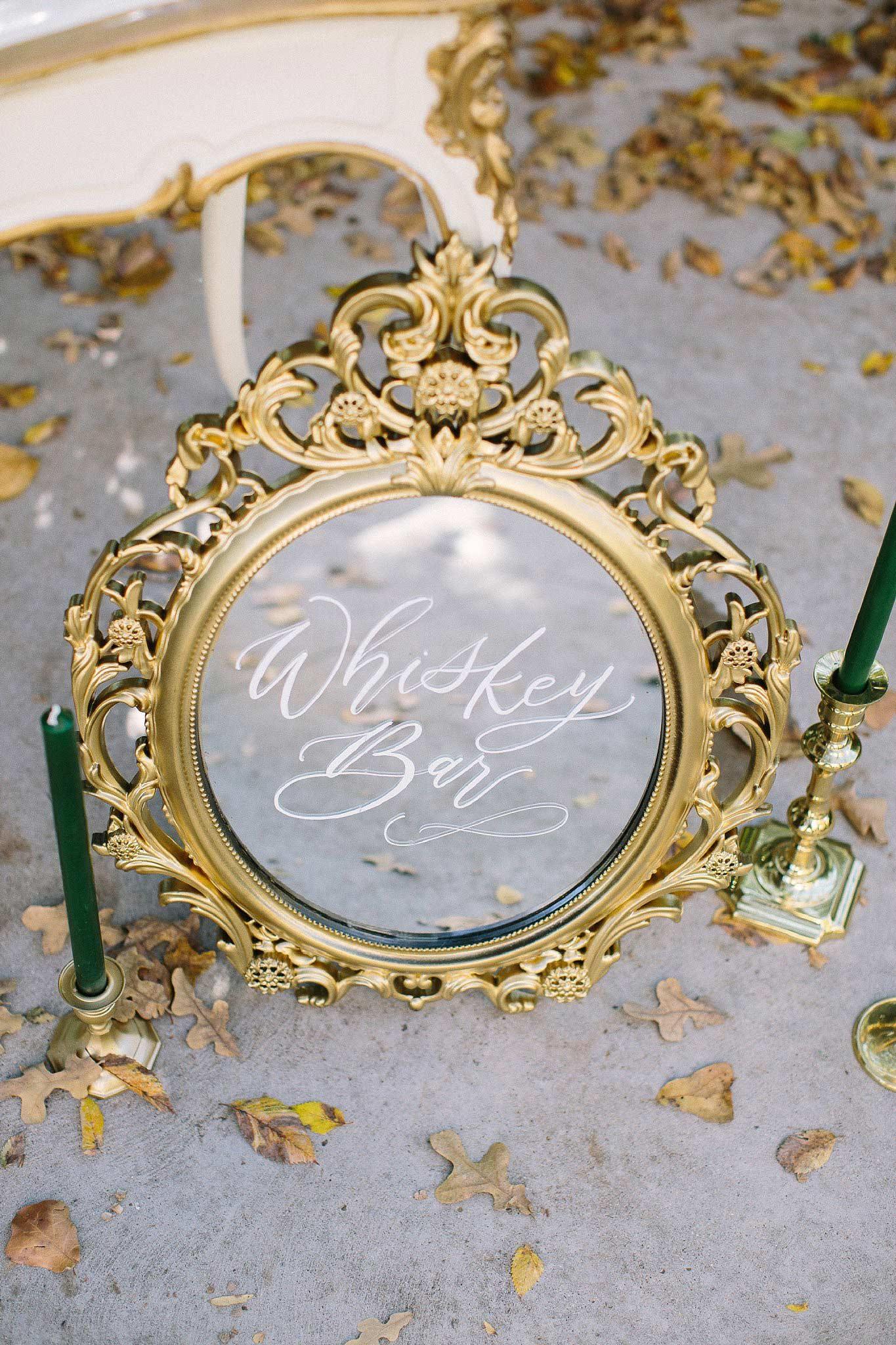 aristide mansfield wedding whiskey bar mirror sign