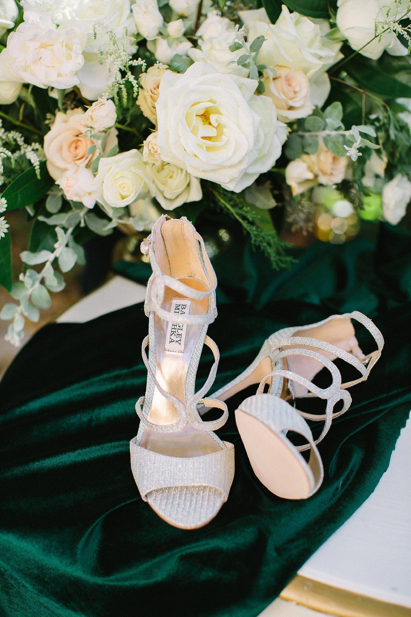 aristide mansfield wedding shoes on velvet green fabric